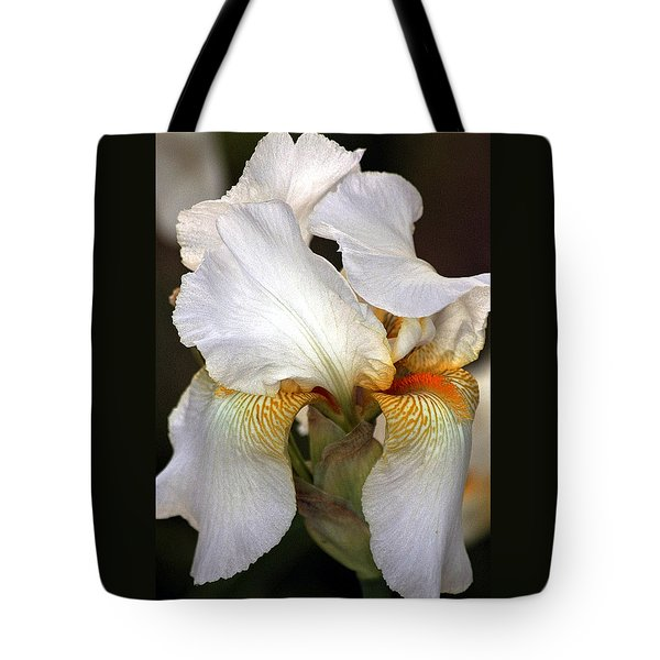 Tote Bag featuring the photograph White Bearded Iris by Sheila Brown