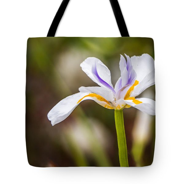 White Beardless Iris Tote Bag