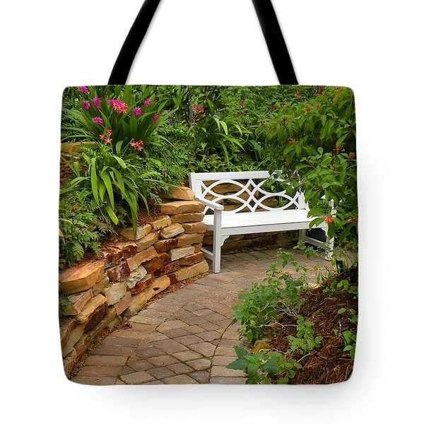 White Bench In The Garden Tote Bag by Rosalie Scanlon