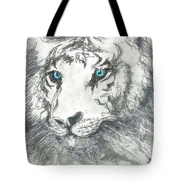 Tote Bag featuring the drawing White Bengal Tiger by Denise Fulmer