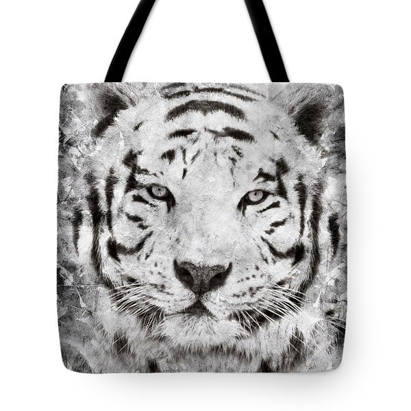 White Bengal Tiger Portrait Tote Bag