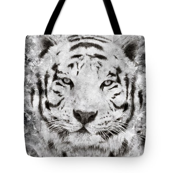 White Bengal Tiger Portrait Tote Bag