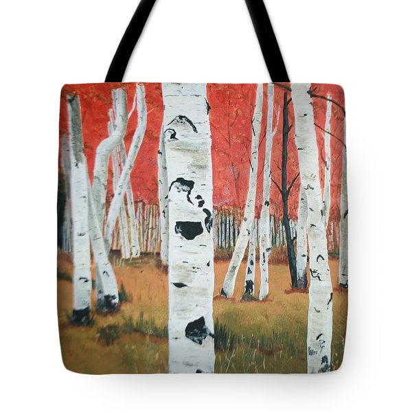 Tote Bag featuring the painting White Birches by Betty-Anne McDonald