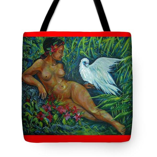 White Bird Tote Bag by Anna  Duyunova