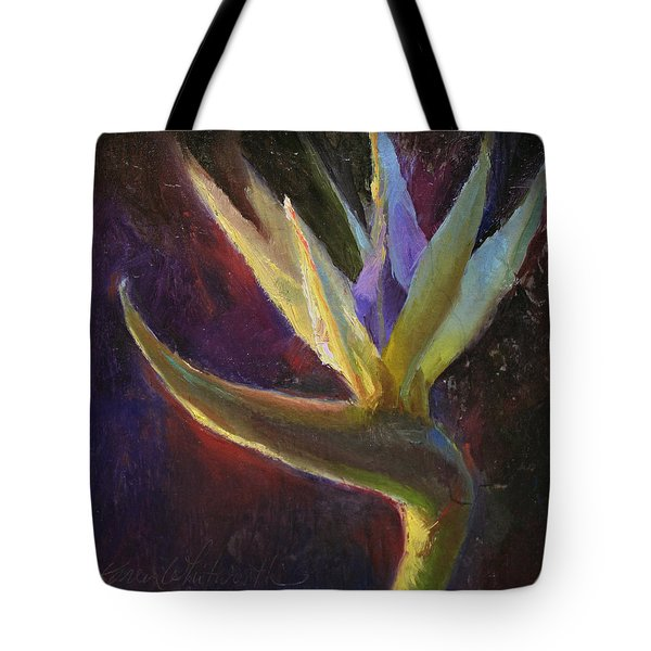 Tote Bag featuring the painting White Bird Of Paradise -tropical Flower Painting by Karen Whitworth