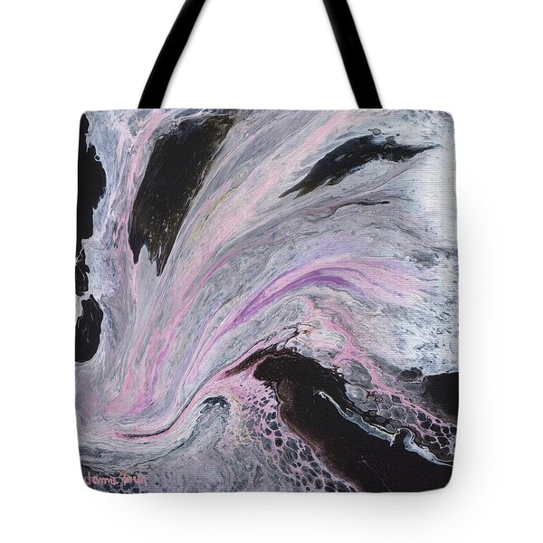 Tote Bag featuring the painting White/black/pink by Jamie Frier
