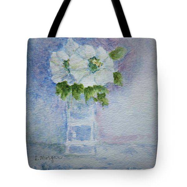 White Blooms In Blue Vase Tote Bag