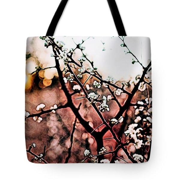 White Blossom Branches Tote Bag by Carol Crisafi
