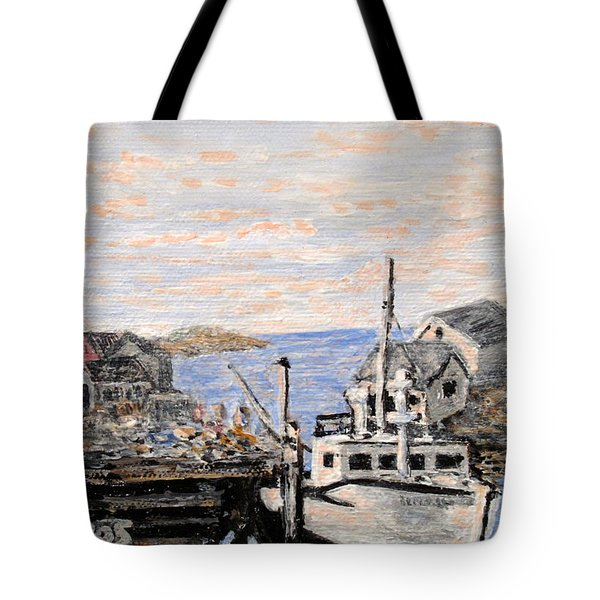 Tote Bag featuring the painting White Boat In Peggys Cove Nova Scotia by Ian  MacDonald