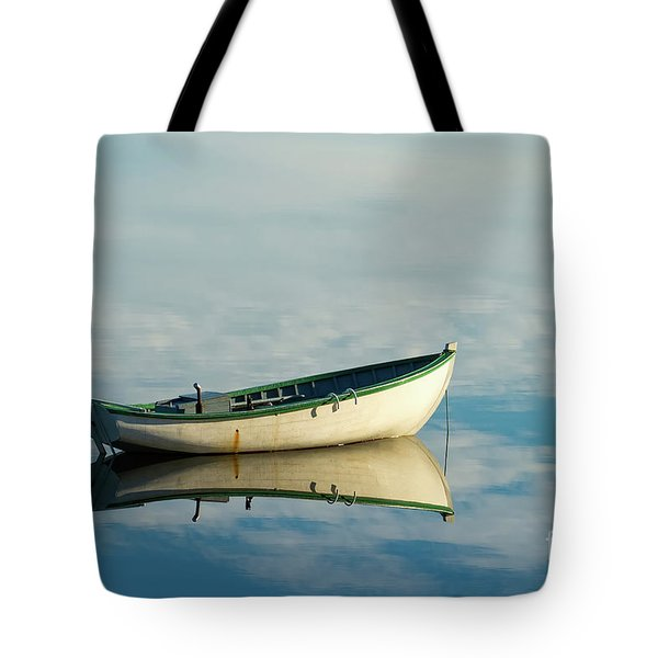 White Boat Reflected Tote Bag