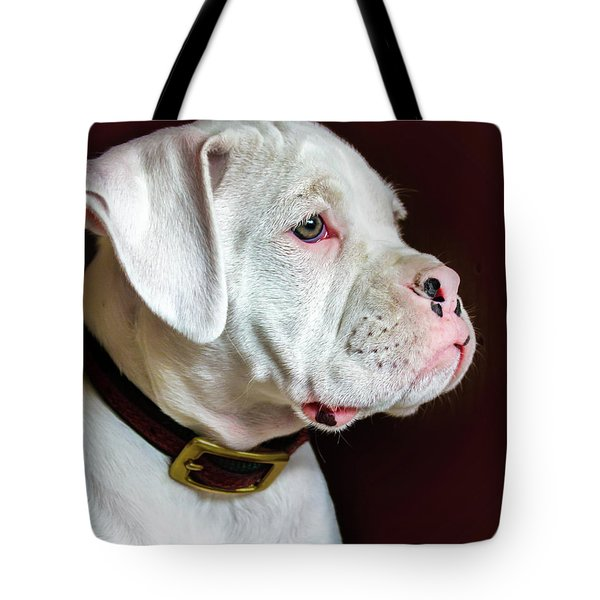 White Boxer Portrait Tote Bag