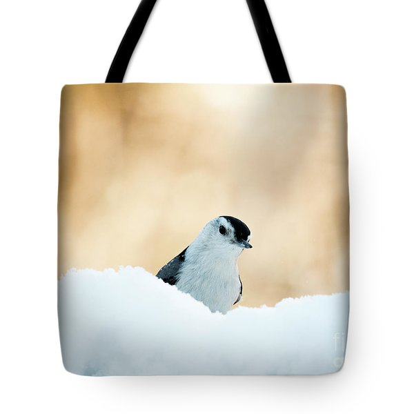 White Breasted Nuthatch In Snow Tote Bag