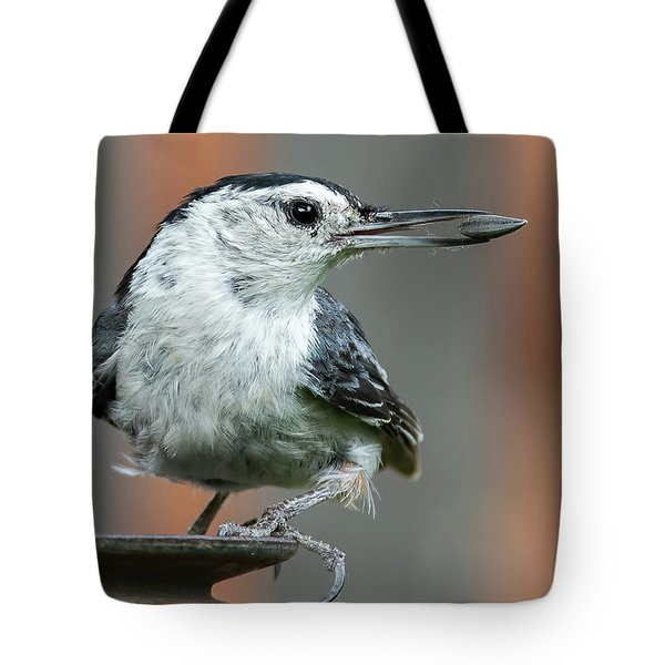 White-breasted Nuthatch With Sunflower Seed Tote Bag