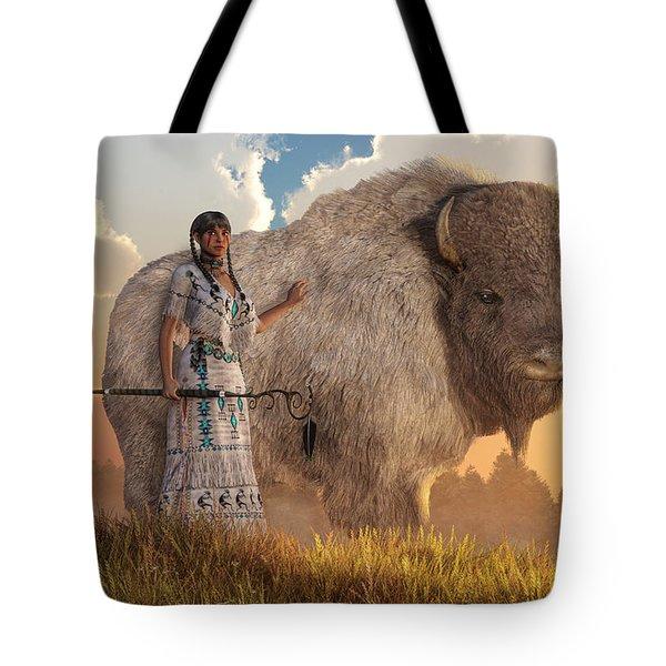 White Buffalo Calf Woman Tote Bag