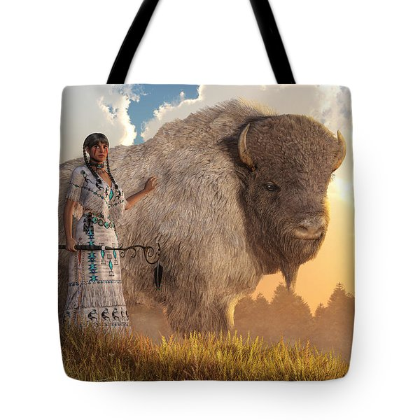 White Buffalo Calf Woman Tote Bag by Daniel Eskridge