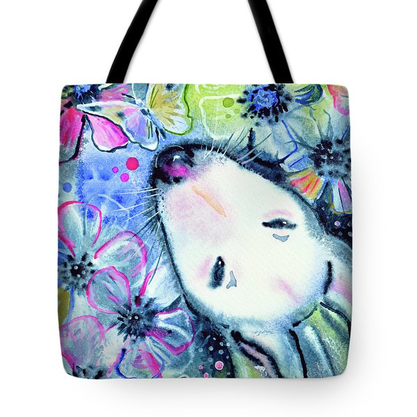 Tote Bag featuring the painting White Bull Terrier And Butterfly by Zaira Dzhaubaeva