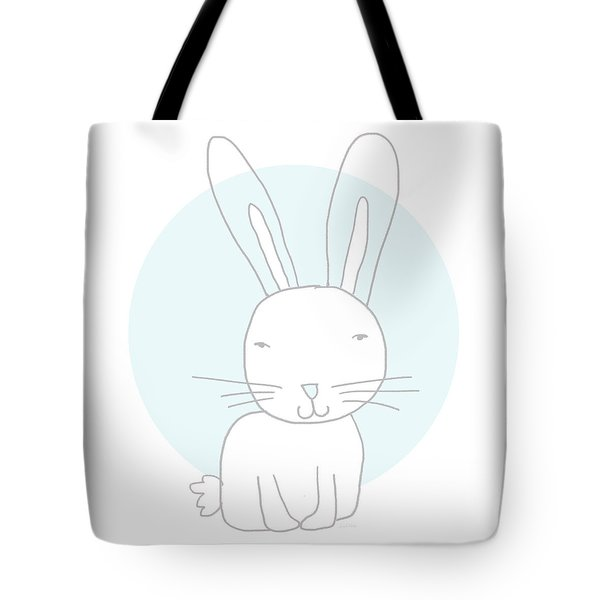 White Bunny On Blue- Art By Linda Woods Tote Bag