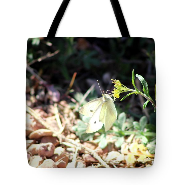 White Butterfly On Goldenseal Tote Bag by Colleen Cornelius