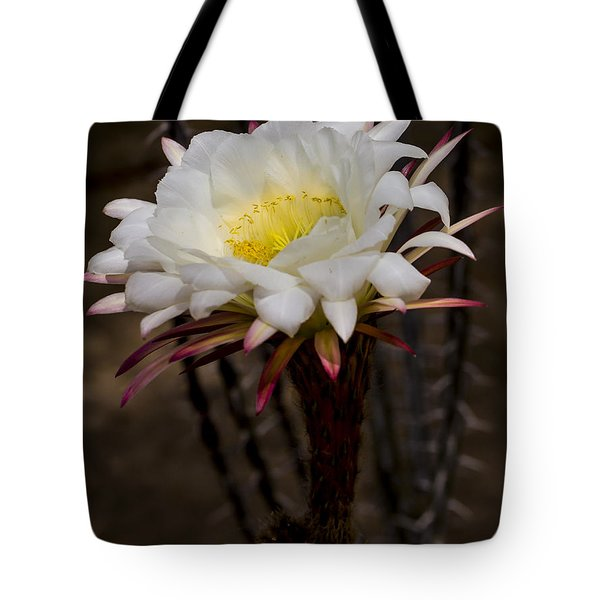 White Cactus Fower Tote Bag