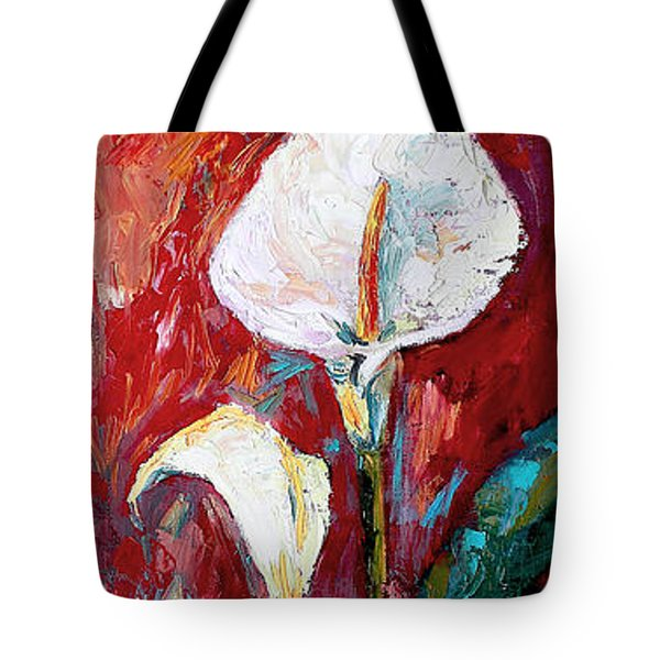 Tote Bag featuring the painting White Calla Lilies Oil Painting by Ginette Callaway