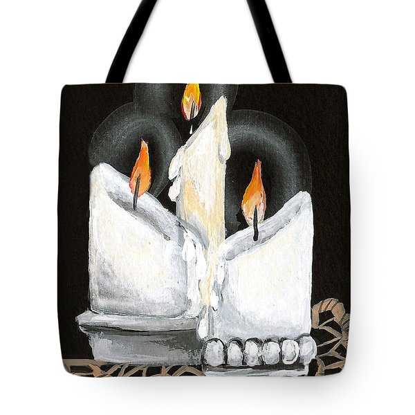 White Candle Trio Tote Bag by Elaine Hodges