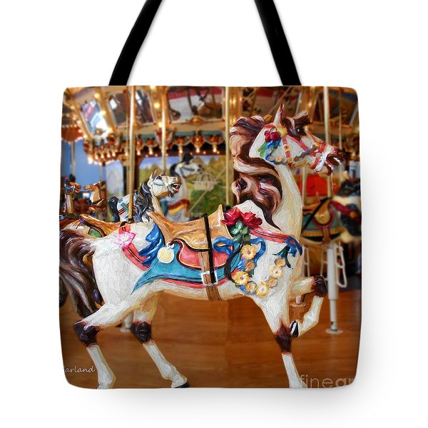 White Carousel Horse With Friends Tote Bag