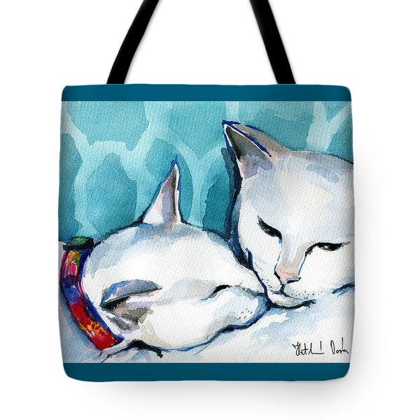 White Cat Affection Tote Bag
