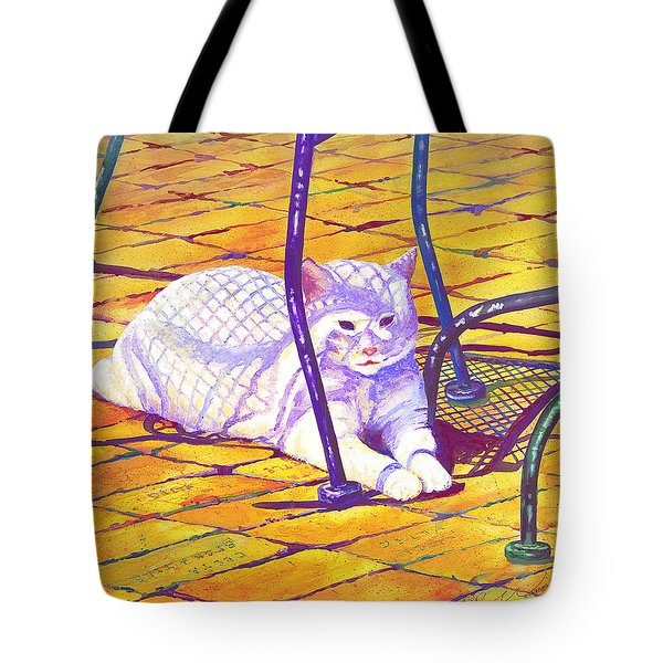 White Cat On Patio Tote Bag