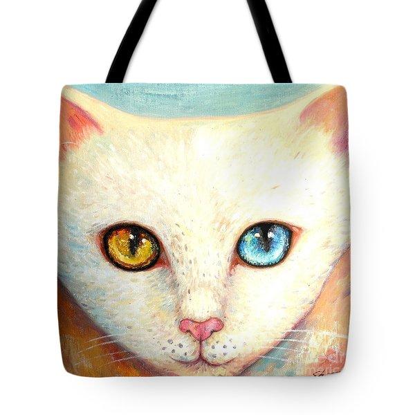 White Cat Tote Bag by Shijun Munns