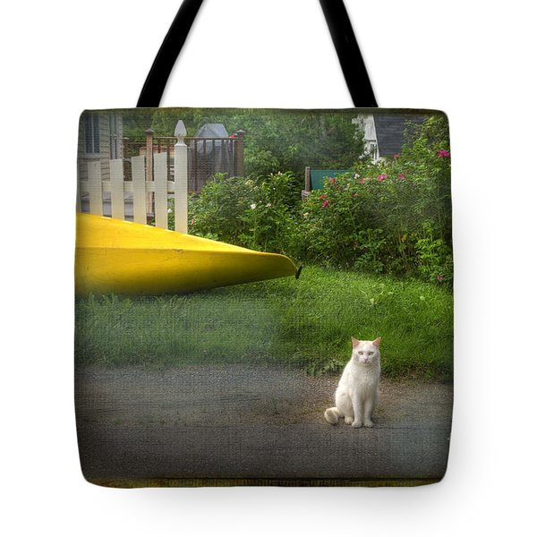White Cat, Yellow Canoe Tote Bag