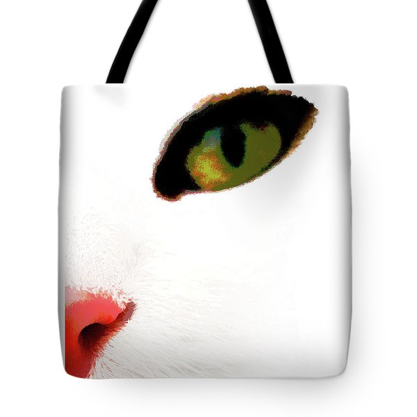 Tote Bag featuring the photograph White Cats Face by Menega Sabidussi