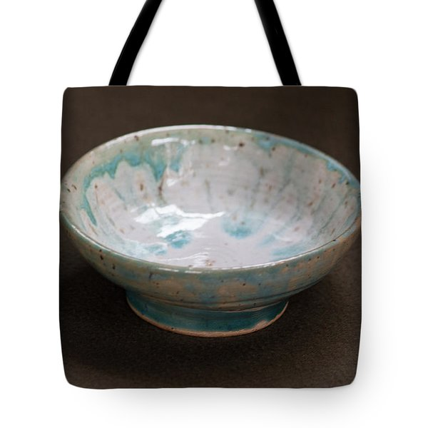 White Ceramic Bowl With Turquoise Blue Glaze Drips Tote Bag by Suzanne Gaff