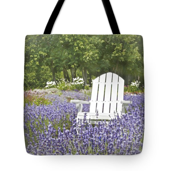 Tote Bag featuring the photograph White Chair In A Field Of Lavender Flowers by Brooke T Ryan