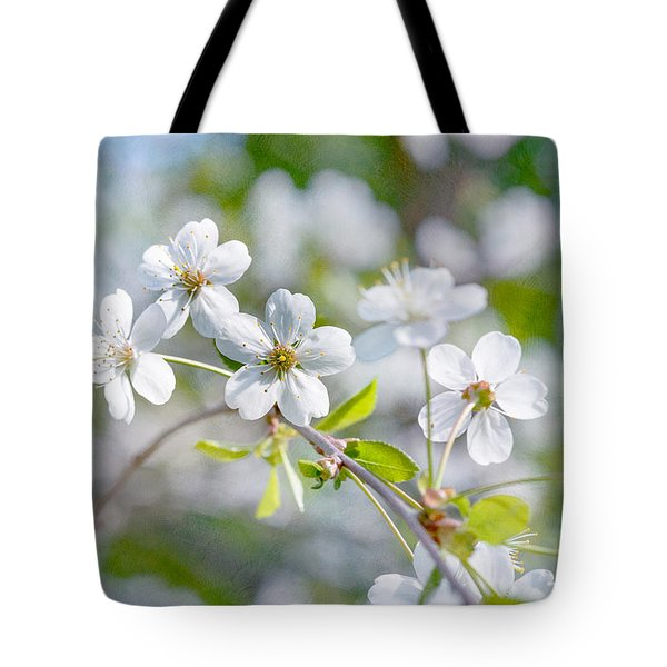 Tote Bag featuring the photograph White Cherry Blossoms In Spring by Alexander Senin