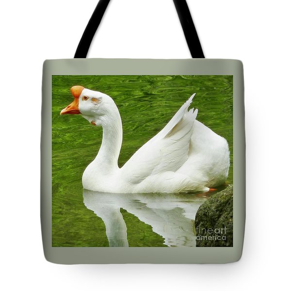 Tote Bag featuring the photograph White Chinese Goose by Susan Garren