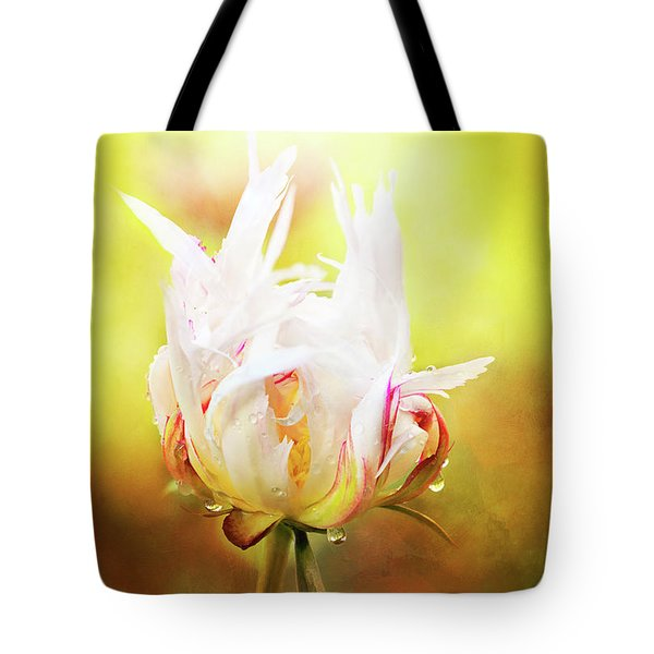 White Chinese Peony Laden With Raindrops Tote Bag