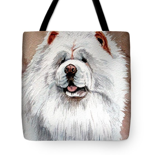 White Chow Chow Tote Bag by Christopher Shellhammer