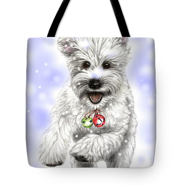 White Christmas Doggy Tote Bag by Heidi Kriel