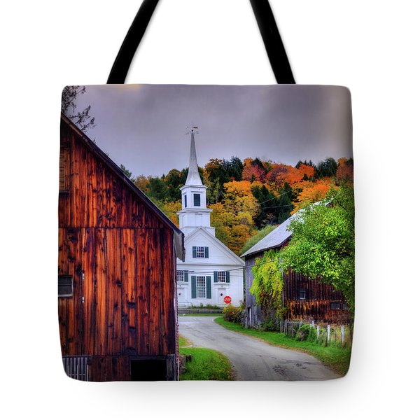 Tote Bag featuring the photograph White Church In Autumn - Waits River Vermont by Joann Vitali
