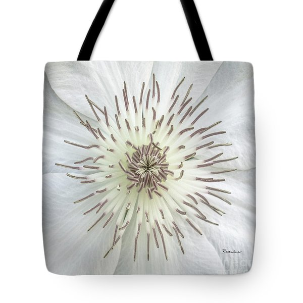 White Clematis Flower Macro 50121c Tote Bag