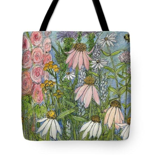 White Coneflowers In Garden Tote Bag