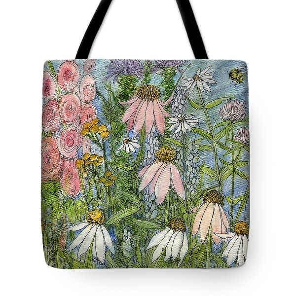 White Coneflowers In Garden Tote Bag by Laurie Rohner