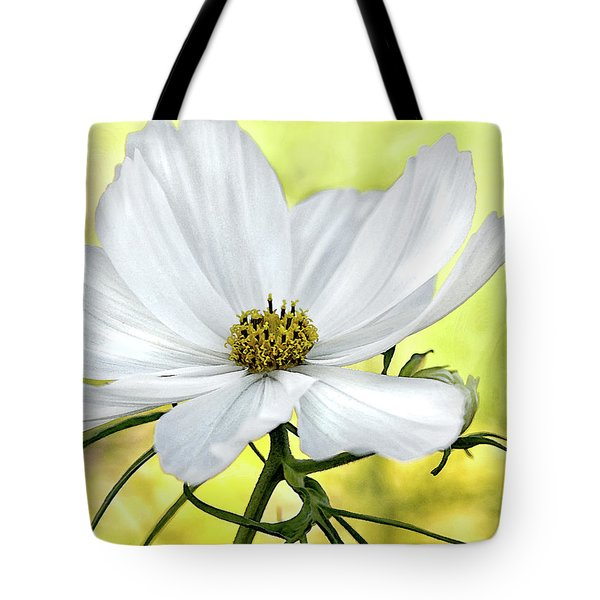 White Cosmos Floral Tote Bag