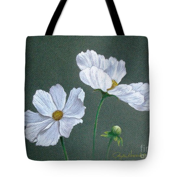 Tote Bag featuring the drawing White Cosmos by Phyllis Howard