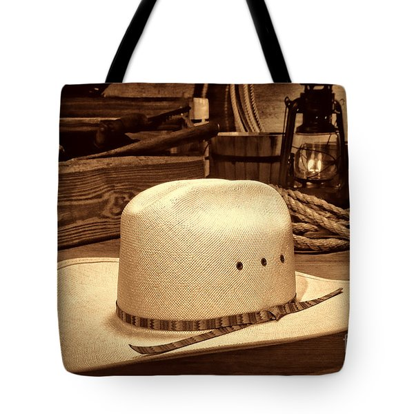 White Cowboy Hat In A Barn Tote Bag