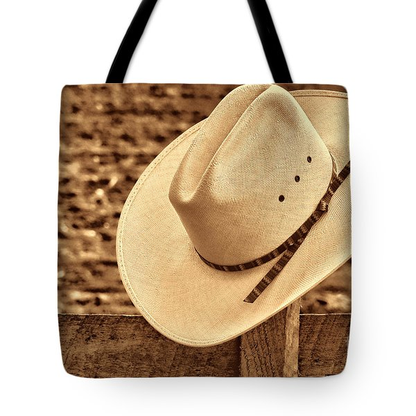 White Cowboy Hat On Fence Tote Bag