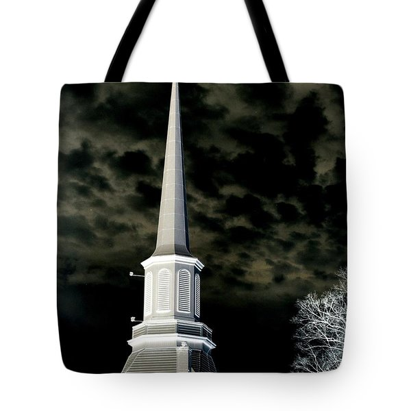 White Cross Dark Skies Tote Bag