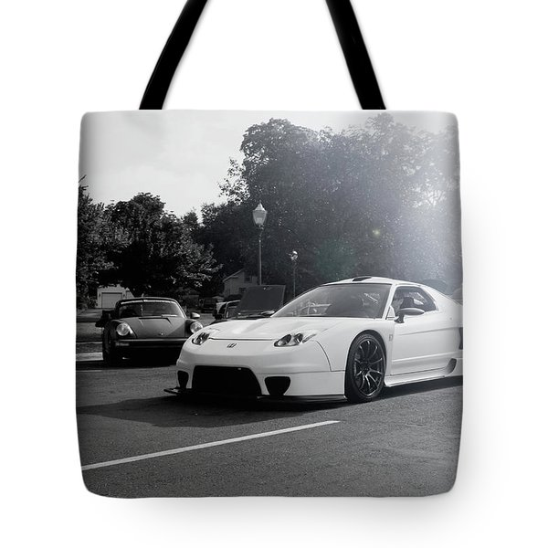 Tote Bag featuring the photograph White Custom Nsx  by Joel Witmeyer