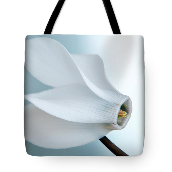 Tote Bag featuring the photograph White Cyclamen. by Terence Davis