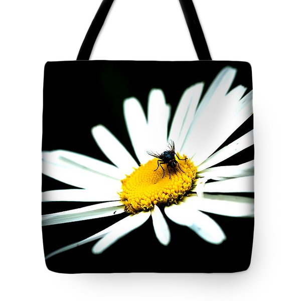 Tote Bag featuring the photograph White Daisy Flower And A Fly by Alexander Senin